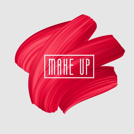 Czerwony pędzel malowany rozmazem na logo makijażu. Wektor piękny pociągnięcie pędzla, kobiecy transparent dziewczęcy. Znak czerwonej szminki.