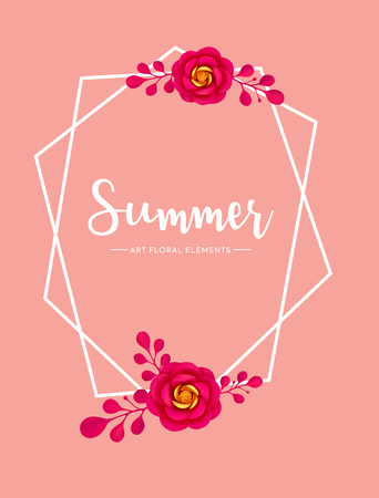 Summer and spring background with paper art flower. Vector vivid floral decoration element, banner, invitation, promo design. Çizim