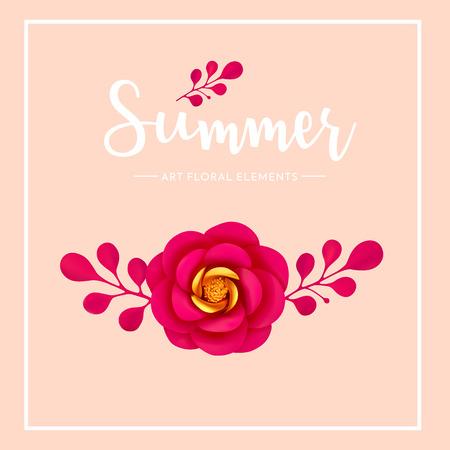 Bloemen artistieke elementendecoratie, de zomerstemming, vectorillustratie. Levendige, heldere 3d creatieve bloem en bladeren geïsoleerd. Stock Illustratie