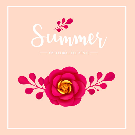 Floral artistic element decoration, summer mood, vector illustration. Vivid, bright 3d creative flower and leaves isolated. Çizim
