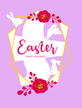 Easter vector illustration with floral decoration elements, bunny silhouettes, lettering. 矢量图像
