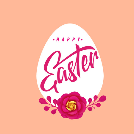 Easter icon, badge, label, logo. Vector illustration. Floral and lettering decoration element - symbol of Easter holiday.
