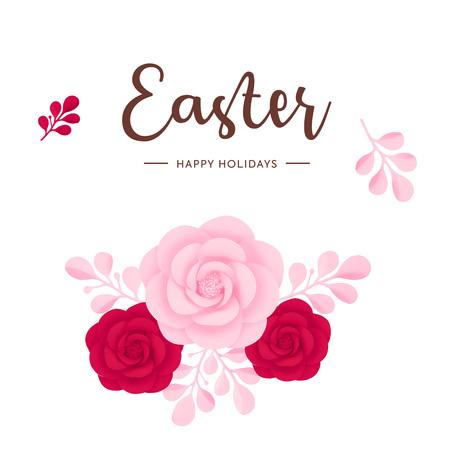Vector bloemen decoratie elementen, geïsoleerd op een witte achtergrond. Fijne paasvakantie. Roze en rood bloemenontwerp voor wenskaarten.