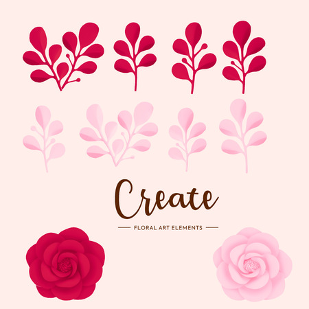 Vector romantic floral elements, leaves and flowers paper art, red and pink roses isolated on white background. Çizim