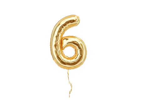 Numeral 6. Foil balloon number six isolated on white background