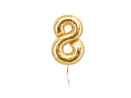 Numeral 8. Foil balloon number eight isolated on white background