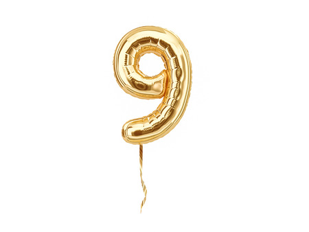 Numeral 9. Foil balloon number nine isolated on white background