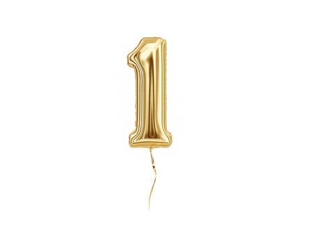 Numeral 1. Foil balloon number One isolated on white background Foto de archivo - 111768453
