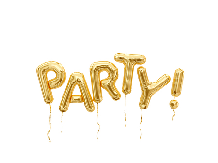 Foil balloons party word isolated on white background.