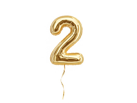 Foil balloon number Two isolated on white background Stok Fotoğraf