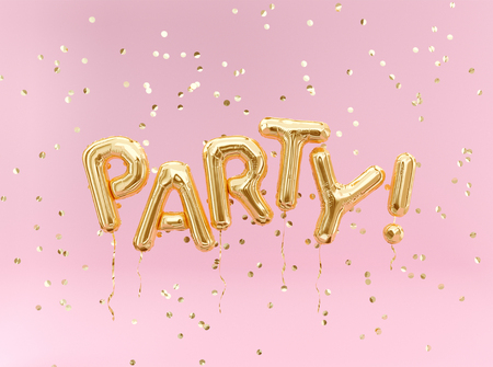 Flying foil balloon Party letters and golden confetti on pink background. Stockfoto