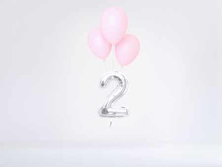 Number 2 flying foil balloon in pastel colors. Two-year anniversary background. 3D rendering Stok Fotoğraf
