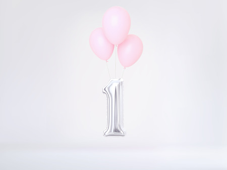 Number 1 flying foil balloon in pastel colors. One-year anniversary background. 3D rendering