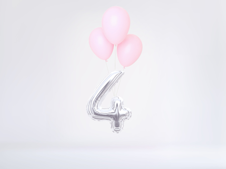 Number 4 flying foil balloon. Four-year anniversary background. 3D rendering Stok Fotoğraf