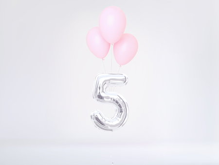 Number 5 flying foil balloon. Five-year anniversary background. 3D rendering Stok Fotoğraf