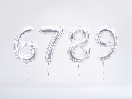 Six, Seven, Eight, Nine silver foil balloon numbers. 3d rendering