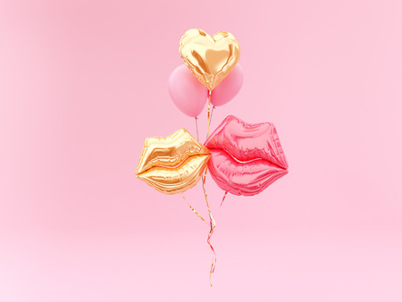 Love emotion concept. Foil balloon couple lips and golden Heart on pink background. 3d rendering.