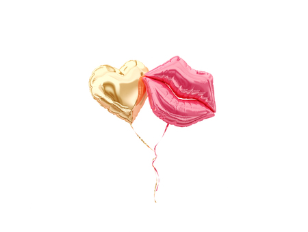 Heart and lips foil balloon isolated on white. 3d rendering.