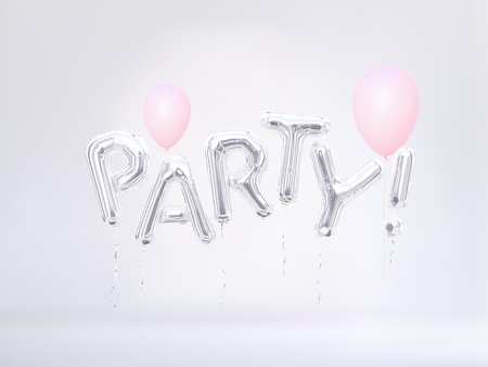 Party concept banner, flying word party and pink pastel color balloons. 3D rendering. Stok Fotoğraf