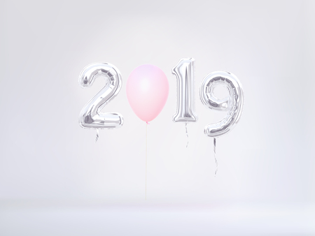 New year 2019 celebration in pastel colors. Silver foil balloons numeral 2019. 3D rendering