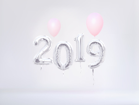 2019 New Year banner. Foil balloon numeral 2019. 3d rendering.