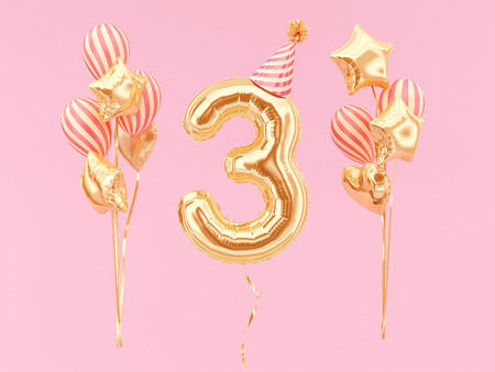 Celebration balloon with number 3. Three-year anniversary or birthday with party hat and bunch of foil balloons.