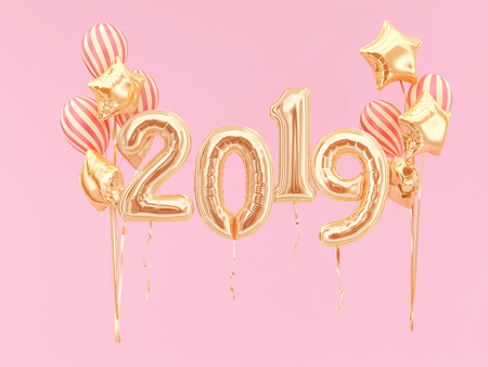 2019 golden balloons on pink background. 3d rendering