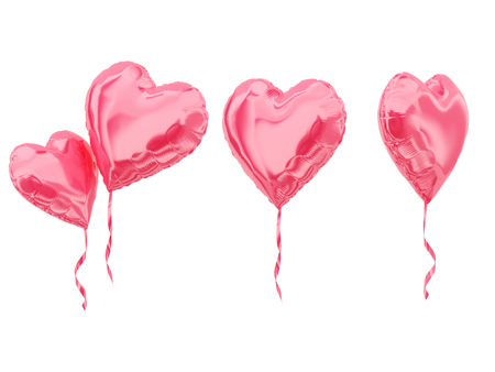 Set of Heart balloons isolated on white. 3d rendering. Stockfoto