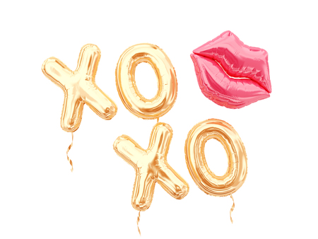 XOXO balloon letters and lips balloon isolated on white. 3d rendering. Stok Fotoğraf