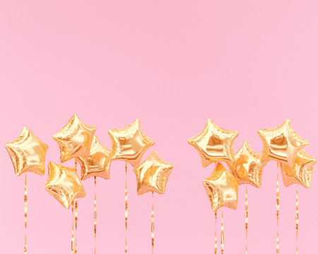 Golden star balloons isolated on pink, Festive background. 3d rendering.