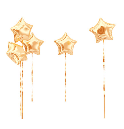 Set of gold Star balloons isolated on white. 3d rendering.