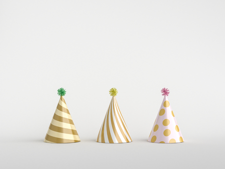Minimal party concept. Party hat on white. 3d rendering. Stok Fotoğraf