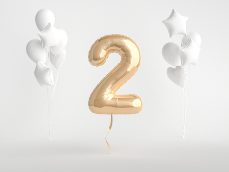 Gold foil balloon Number Two 3d rendering.