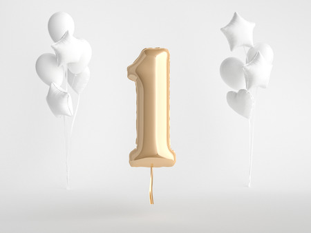Gold foil balloon Number One 3d rendering.