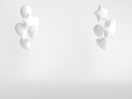 Bunch of white balloons. Festive background. 3d rendering.