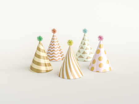 Party concept, Party hats   on white. 3d rendering. Stok Fotoğraf