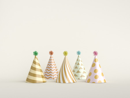 Party hats on white. 3d rendering.