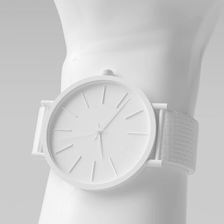 White Wristwatch 3d model art creative white color background. Watch on wrist close up 3d rendering.