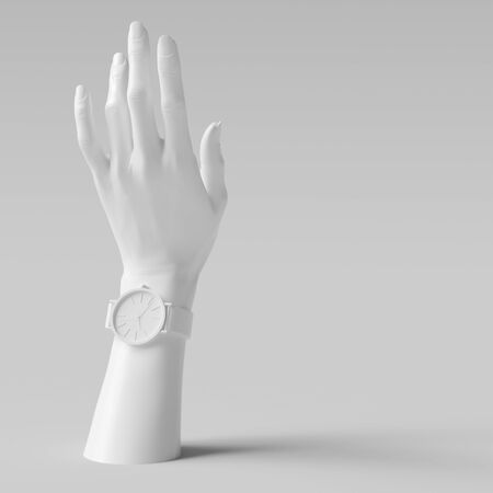Mannequin white hand sculpture and wristwatch art creative background 3d rendering.