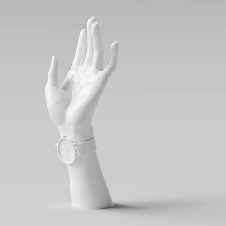 Elegant female hand gesture sculpture, white woman accessories art background, mannequin hand and wrist watch isolated, 3d rendering