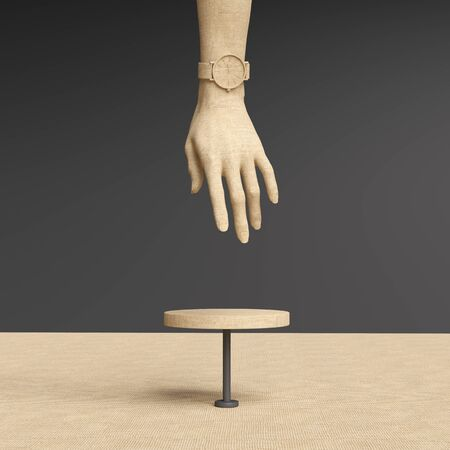 Elegant female hand gesture sculpture, white woman accessories art jewelry background, mannequin hand reaches for product display podium, 3d rendering