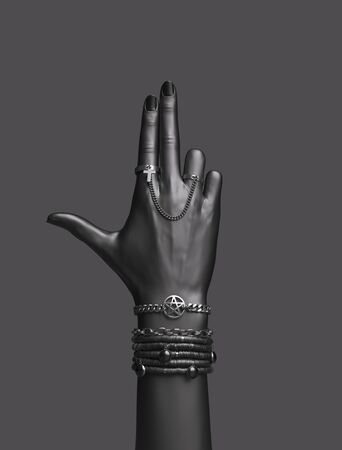 Bad Girl power concept. Bang gun hand sign. Fashion accessories female hand anarchy bracelets and finger rings isolated, creative art protest banner, 3d rendering