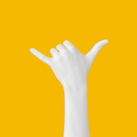 Shaka hand gesture. White surfing sign isolated 3d illustration. Aloha fingers mannequin arm