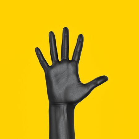 Hand up showing five count gesture. Five fingers open palm female black hand isolated 3d rendering. Art creative voting and communication concept banner. 版權商用圖片 - 143950226