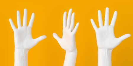 Hand up gesture. Five fingers open palm female white hands set isolated 3d rendering. Art creative voting and communication concept banner.