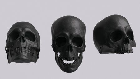 Black Skull set front view without jaw and with open jaw isolated 3d rendering 版權商用圖片