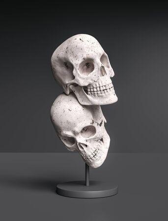 Two Skull creative art sculpture concept background 3d rendering Archivio Fotografico