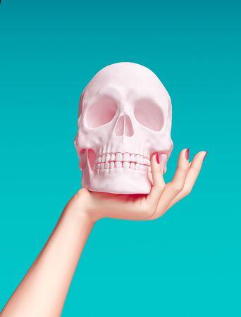 Hand holding pink Skull sculpture - art creative concept banner 3d rendering