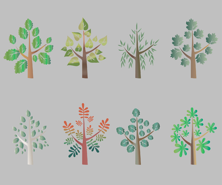 colrful: Trees Silhouette, Colorful on Gray Background - Vector Illustration
