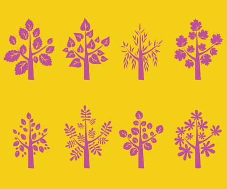 Trees Silhouette, Pink on Yellow Background - Vector